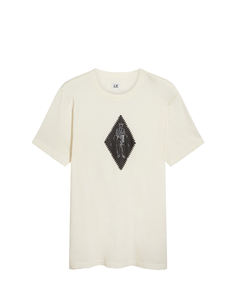 Jersey 30/1 Diamond Logo Print T-Shirt in Gauze White