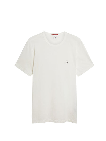 Logo Print Mako Cotton Crew Neck T-Shirt in Gauze White