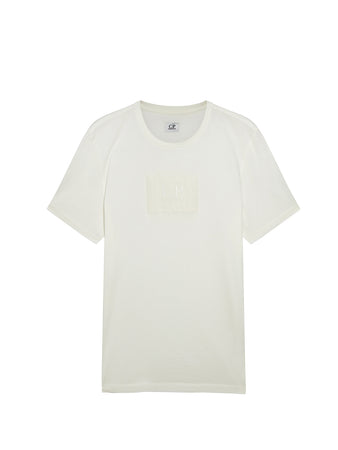 Jersey 30/1 Label Logo T-Shirt in Gauze White