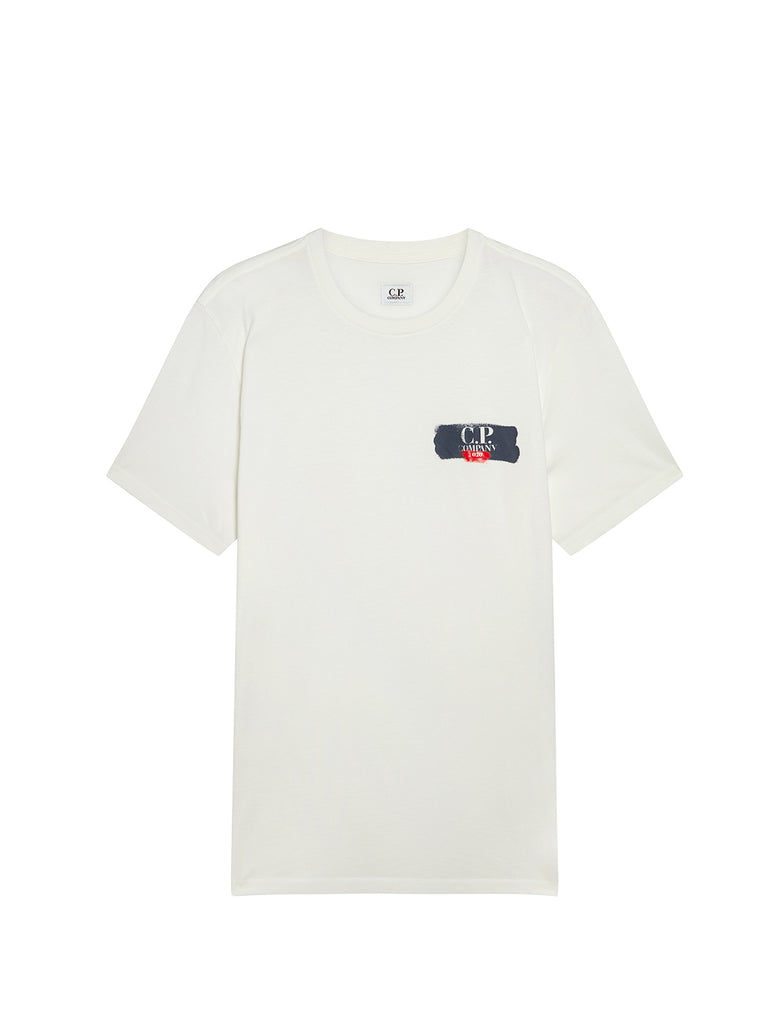 Jersey 30/1 020 Small Spray T-Shirt in Gauze White