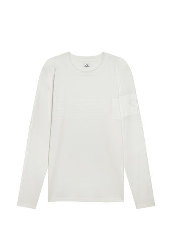 Jersey 30/1 Long Sleeve Instruction T-Shirt in Gauze White