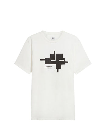 Jersey 24/1 Graphic Logo T-Shirt in Gauze White