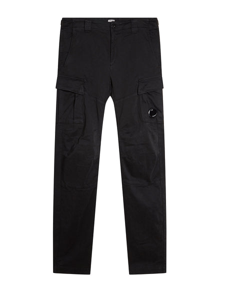 Garment Dyed Sateen Lens Pocket Pants in Black