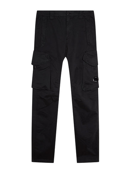 Garment Dyed Sateen Lens Cargo Pants in Black