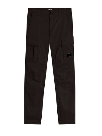 Garment Dyed Stretch Sateen Fitted Lens Pocket Pants in Black
