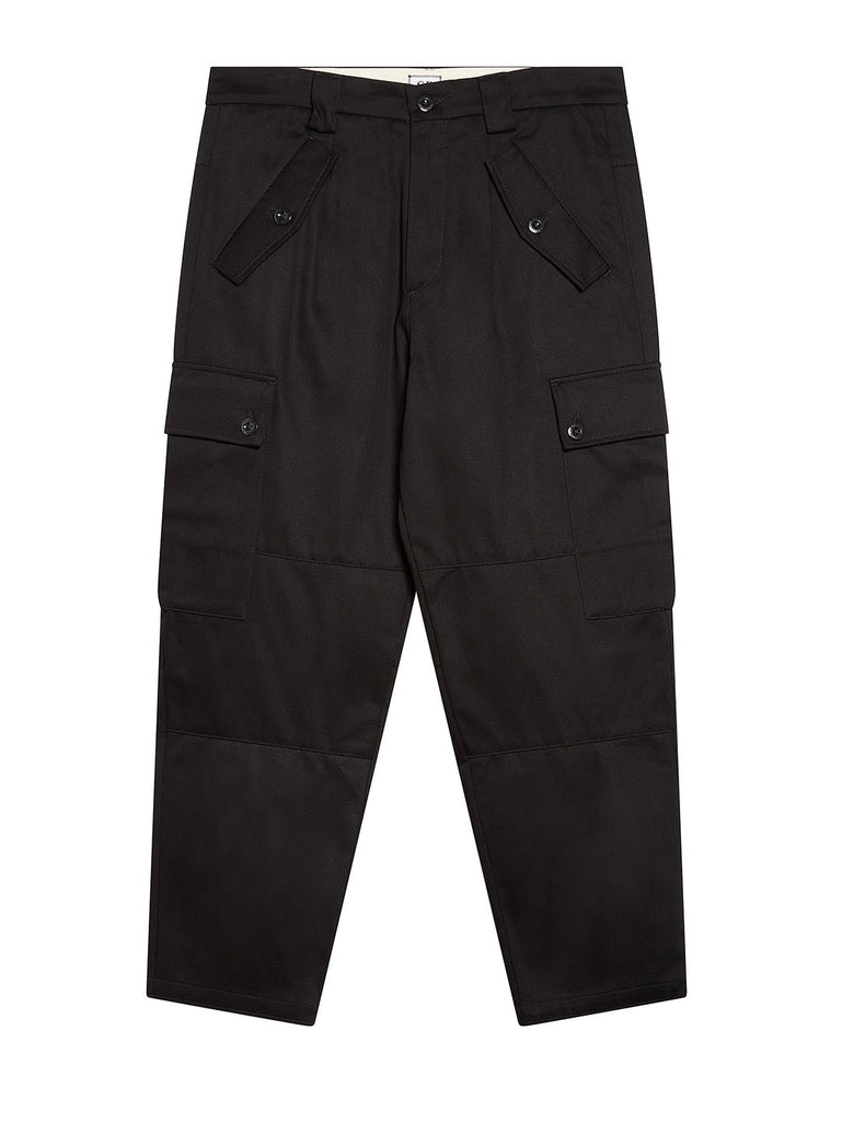 Gabardine Cropped Utility Pants in Black