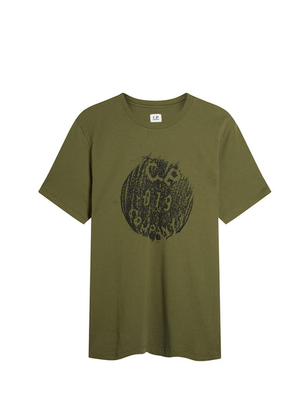 Jersey 30/1 Button Print Crew T-Shirt in Beech