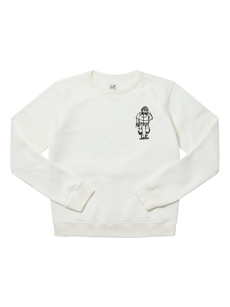 Undersixteen Basic Fleece Comics and Cars Logo Sweat in Gauze White