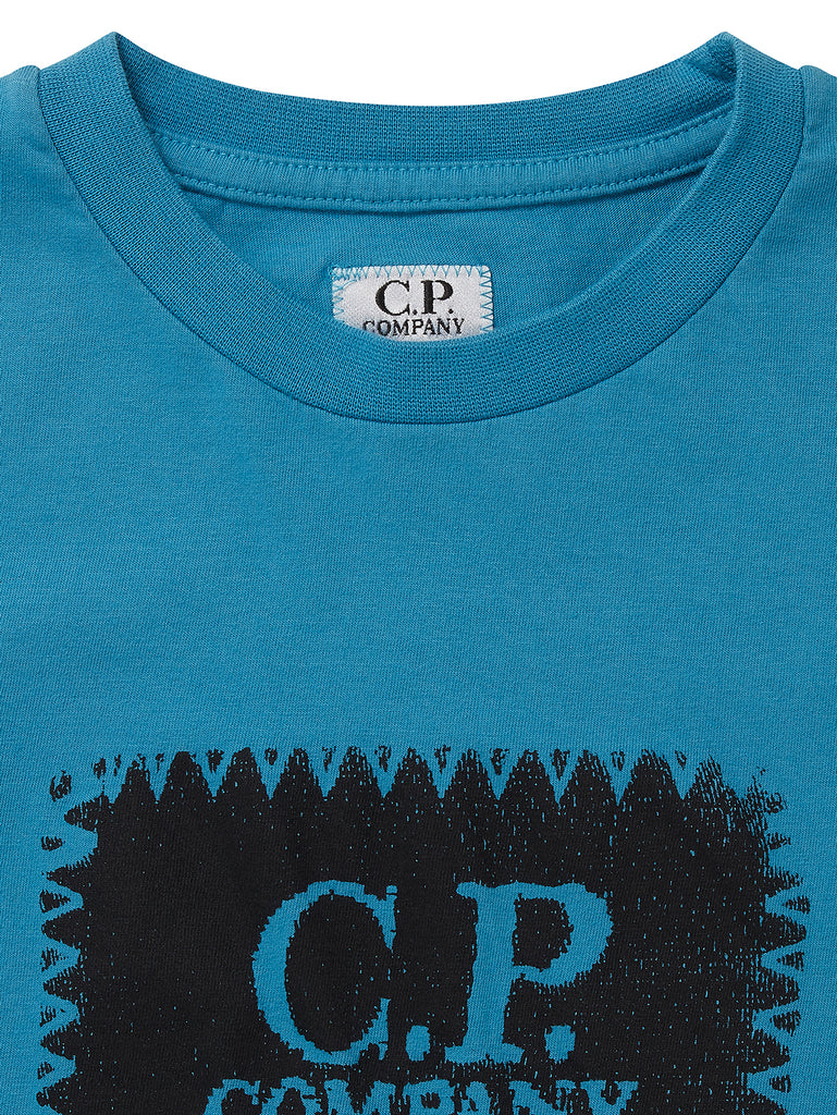 Undersixteen Label Print Crew Neck Jersey 30/1 T-Shirt in Bluejay