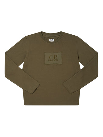 Undersixteen Jersey 28/1 Logo Badge Long Sleeve T-Shirt in Ivy Green