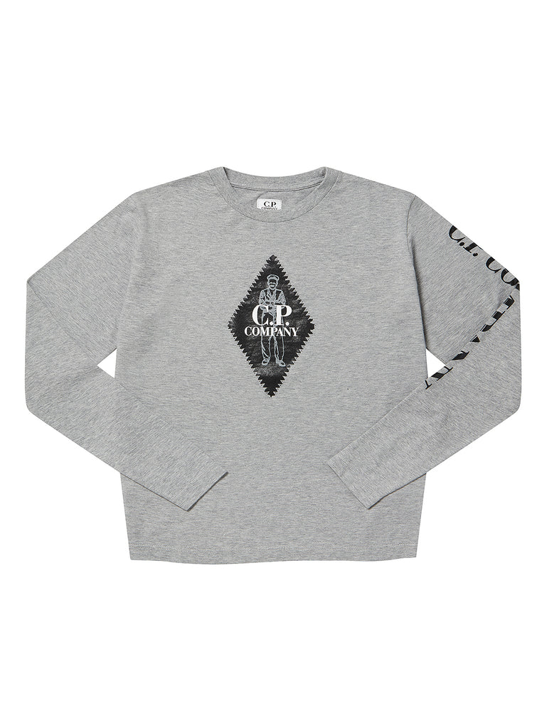 Undersixteen Jersey 30/1 Heritage Logo Long Sleeve in Grey Melange