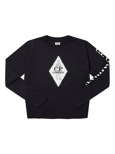 Undersixteen Jersey 30/1 Heritage Logo Long Sleeve in Total Eclipse