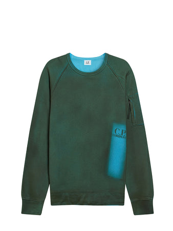 P.Ri.S.M. Hand Sprayed Fleece Crew Sweatshirt in Blue