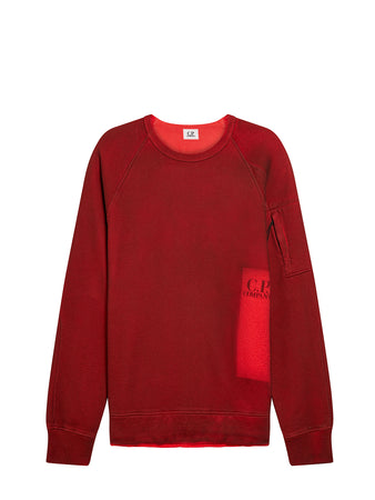 P.Ri.S.M. Hand Sprayed Fleece Crew Sweatshirt in Red