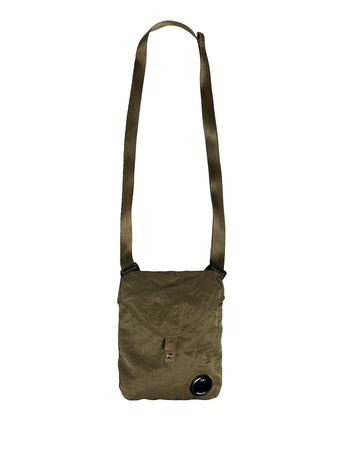 Garment Dyed Nylon Sateen Crossbody Pack in Burnt Olive