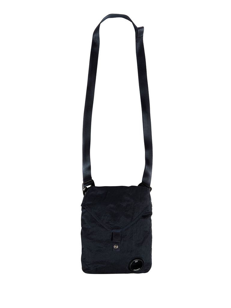 Garment Dyed Nylon Sateen Crossbody Pack in Total Eclipse