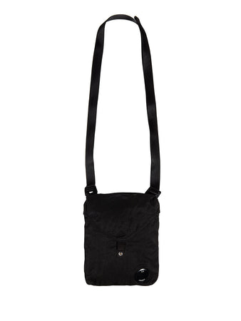 Garment Dyed Nylon Sateen Crossbody Pack in Black