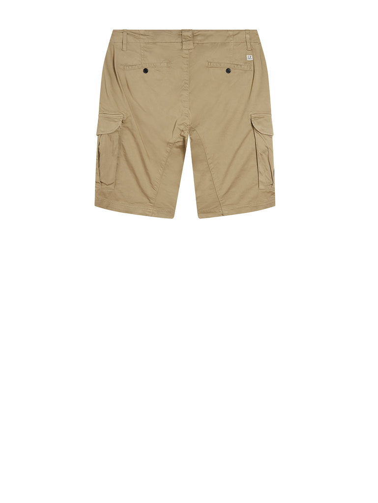 Garment Dyed Stretch Sateen Lens Shorts in Gothic Olive