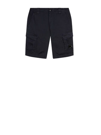 Garment Dyed Stretch Sateen Lens Shorts in Total Eclipse