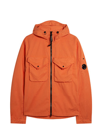 Garment Dyed Gabardine Hooded Lens Overshirt in Spicy Orange