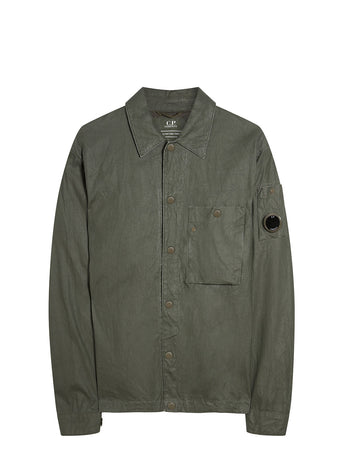 Plated Linen Lens Overshirt in Forest Night