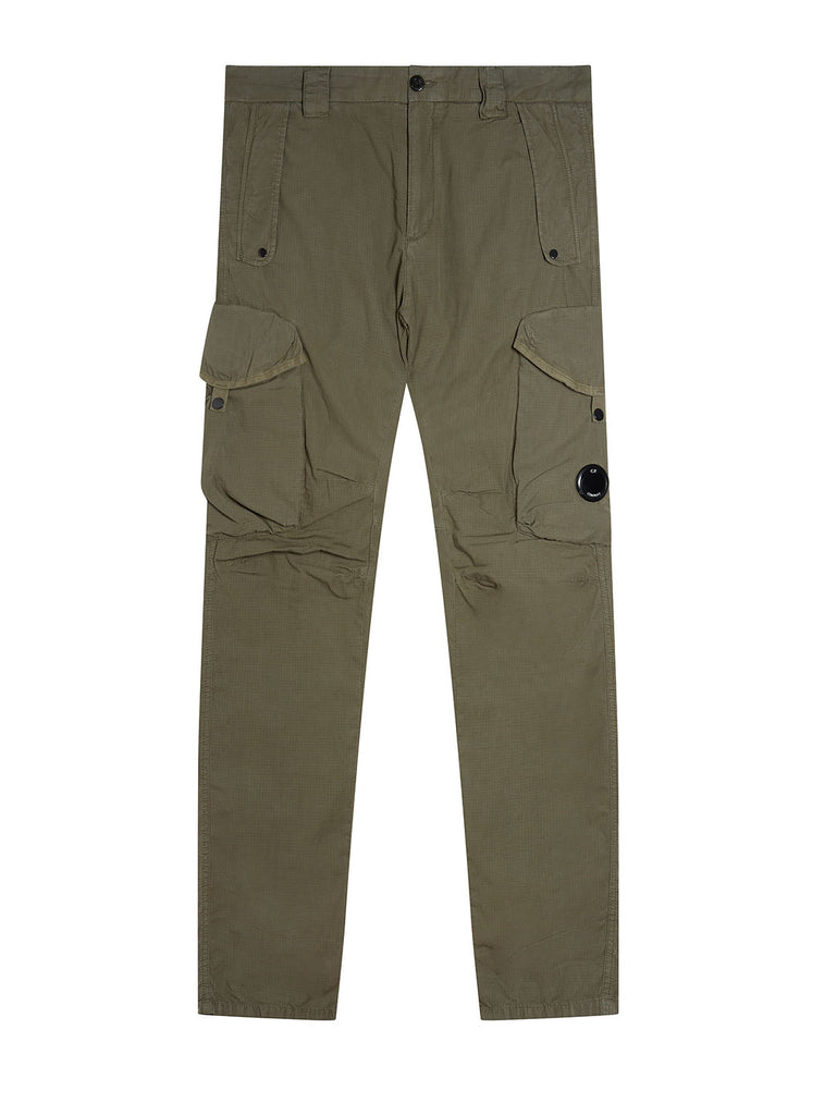 Garment Dyed Cotton Ripstop Lens Trousers in Deep Lychen Green