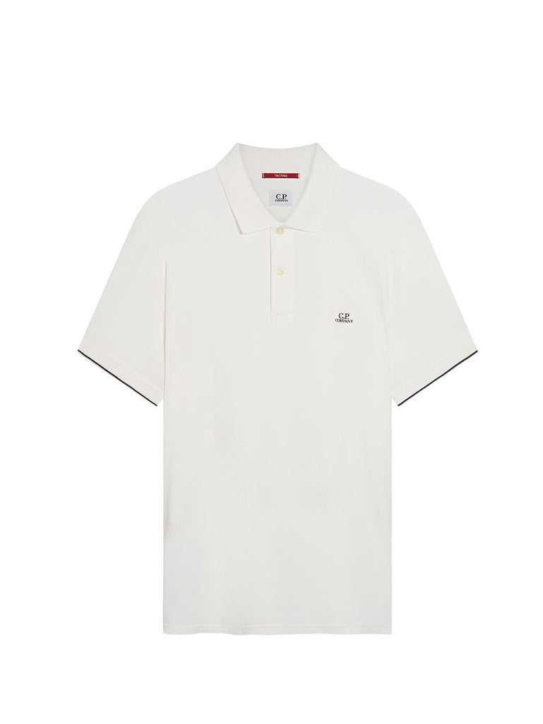 Garment Dyed Tacting Pique Polo Shirt in Gauze White