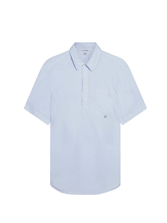Garment Dyed Poplin Shirt in Halogen Blue