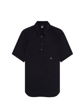 Garment Dyed Poplin Shirt in Black