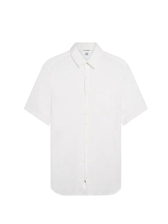 Garment Dyed Linen Shirt in Gauze White