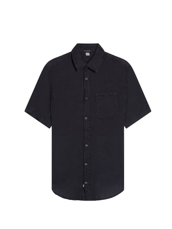 Garment Dyed Linen Shirt in Total Eclipse
