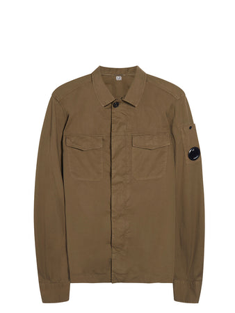 Garment Dyed Gabardine Lens Overshirt in Burnt Olive