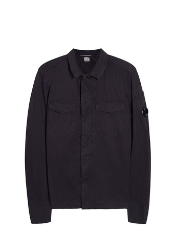 Garment Dyed Gabardine Lens Overshirt in Total Eclipse
