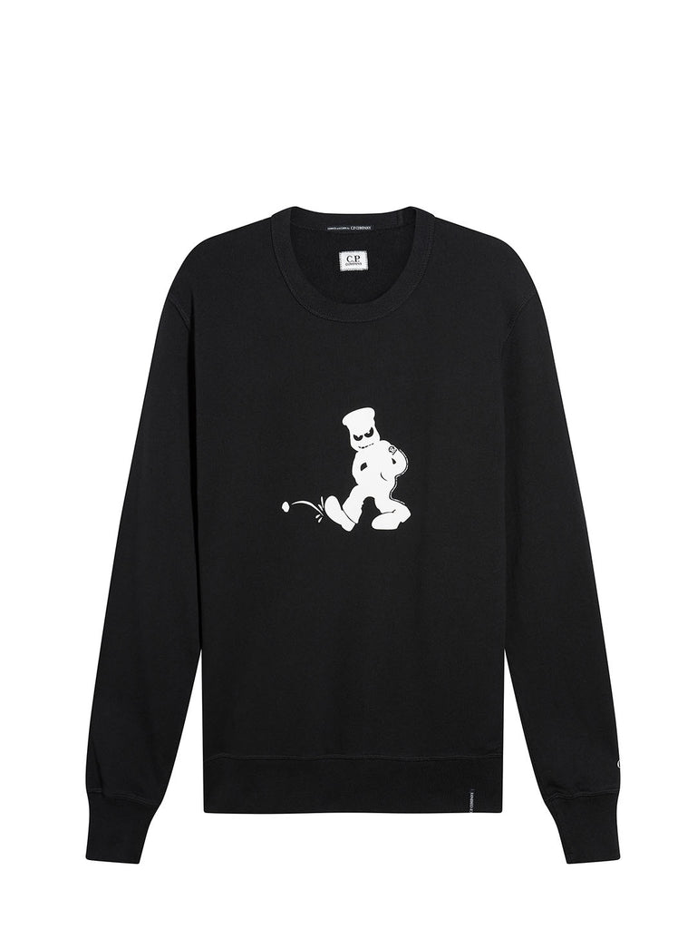 30/1 Fleece Comics And Cars Sweatshirt in Black
