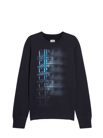 Cotton Fleece Faded Logo Sweatshirt in Total Eclipse