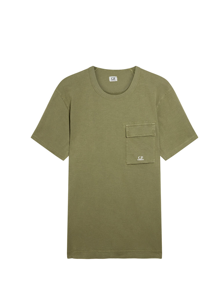Old Dyed Malfilé Jersey Utility T-Shirt in Burnt Olive