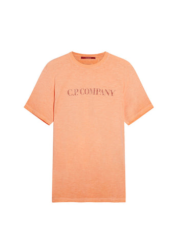 Re-Colour Malfilé Jersey Logo T-Shirt in Spicy Orange