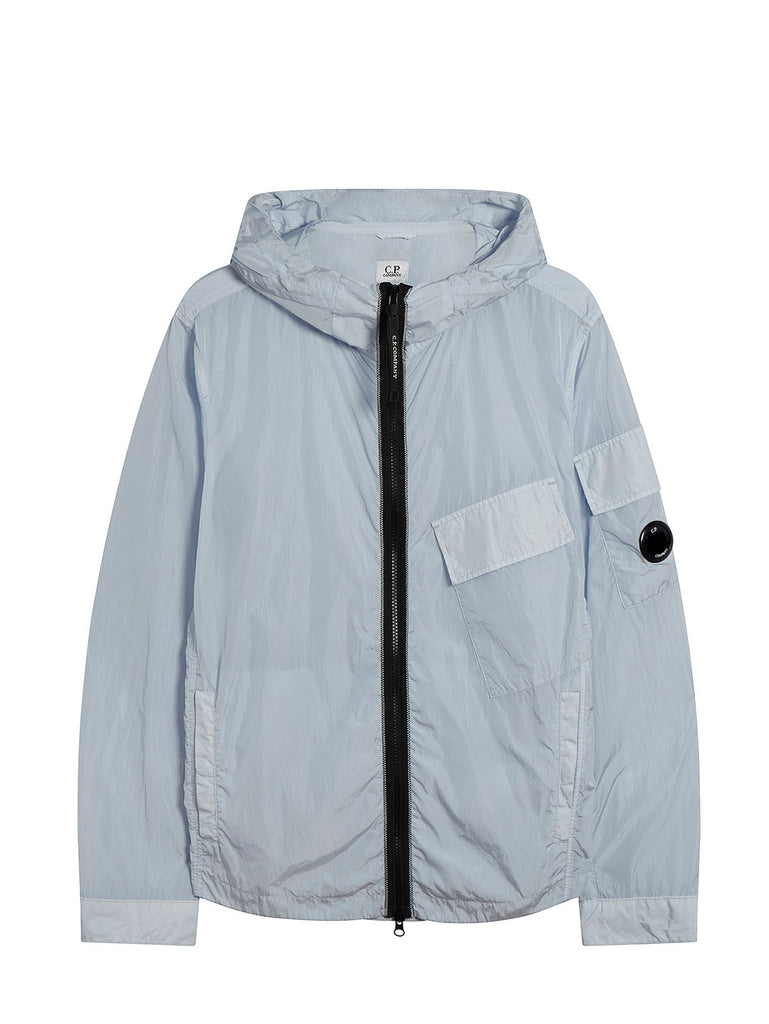 Chrome Hooded Lens Overshirt in Halogen Blue