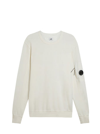 Garment Dyed Light Fleece Lens Sweatshirt in Gauze White