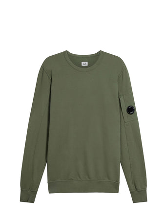 Garment Dyed Light Fleece Lens Sweatshirt in Deep Lychen Green