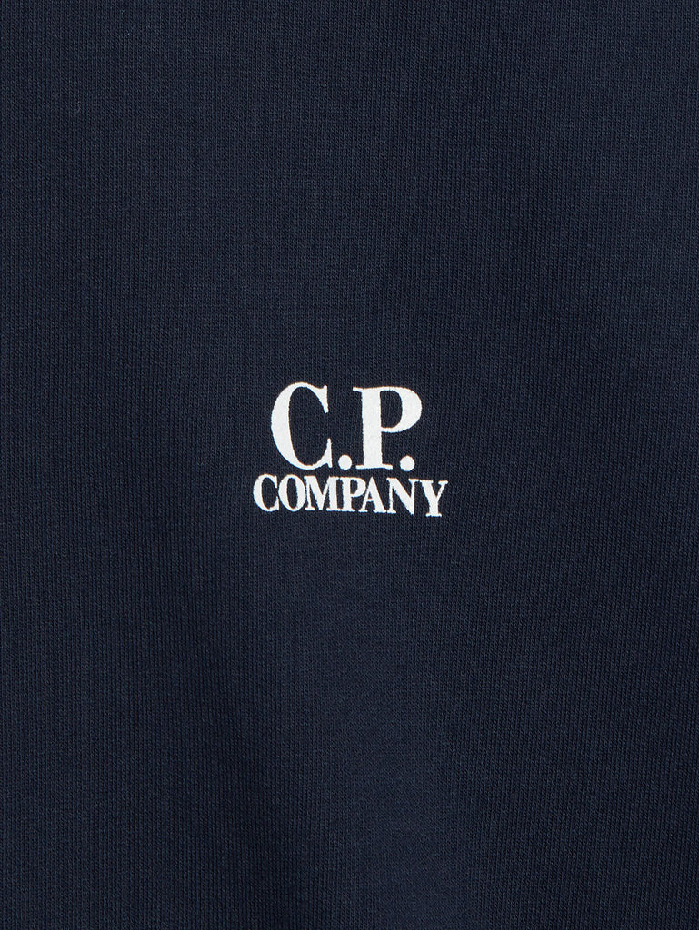 Garment Dyed Light Fleece Logo Sweatshirt in Dark Navy