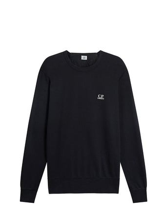 Garment Dyed Light Fleece Logo Sweatshirt in Black