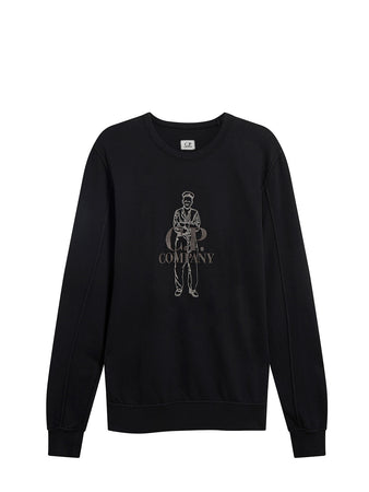 Garment Dyed Light Fleece Heritage Sweatshirt in Black
