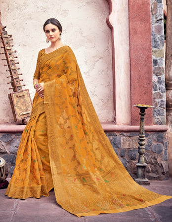 Mustard Cotton Jacquard Woven Saree with Blouse