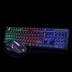 TopMart Colorful Light Wired Keyboard + 1200dpi Gaming Mouse Set Computer Accessories