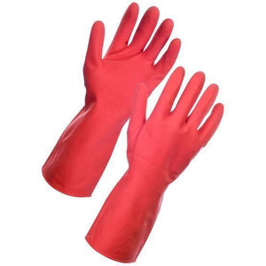 TopMart Flock line Reusable Rubber Hand Gloves (Red) - 2 Pairs