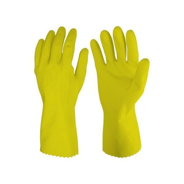 TopMart Cut Glove Reusable Rubber Hand Gloves (Natural) - 2 Pairs