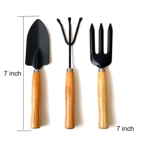 TopMart Small sized Hand Cultivator, Small Trowel, Garden Fork (Set of 3)