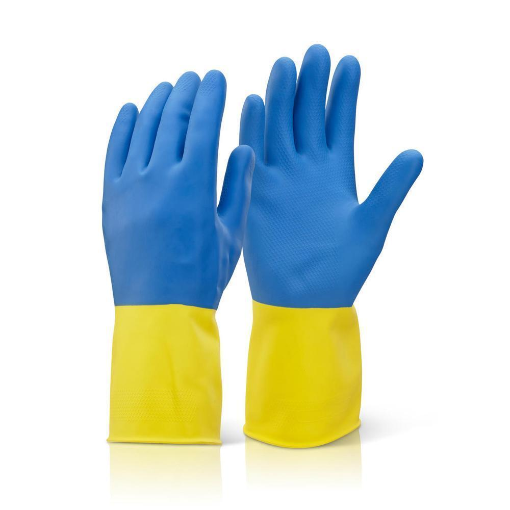 TopMart Dual Color Reusable Rubber Hand Gloves (Yellow + blue) - 2 Pairs