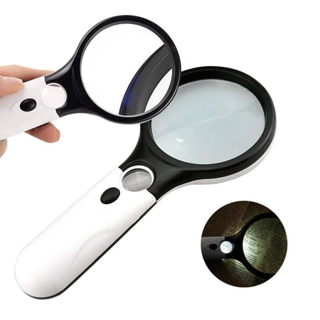 TopMart Handheld Reading Magnifier Glass 3X, 45X with 3 LED Lights for Reading/Maps/Watch Repair